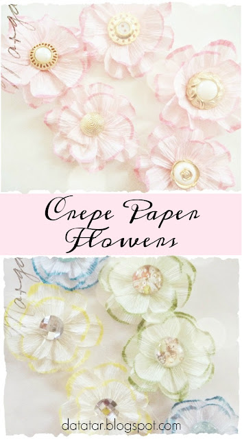 Romantic Crepe Paper Flowers with Vintage Button Centers Tutorial by Dana Tatar