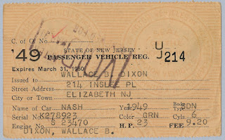 1949 NJ Vehicle Registration for 1949 Nash Sedan owned by W.B. Dixon.