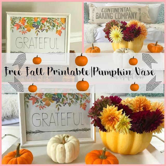 free fall printable pumpkin vase flowers