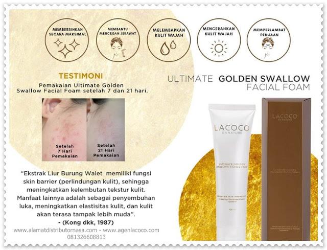 Ultimate Golden Swallow Facial Foam adalah sabun pembersih wajah, untuk membersihkan wajah dari debu, kotoran, polusi, dan sisa makeup.  Tekstur yang berupa foam akan membersihkan wajah dengan maksimal, tanpa menghilangkan kelembapan pada wajah.