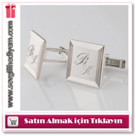 Kişiye Özel İşlemeli Gümüş Kaplama Kol Düğmesi