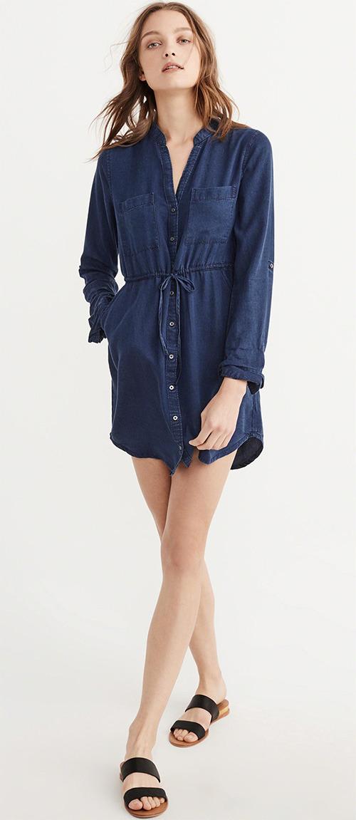 Robe chemise bleu marine Abercrombie