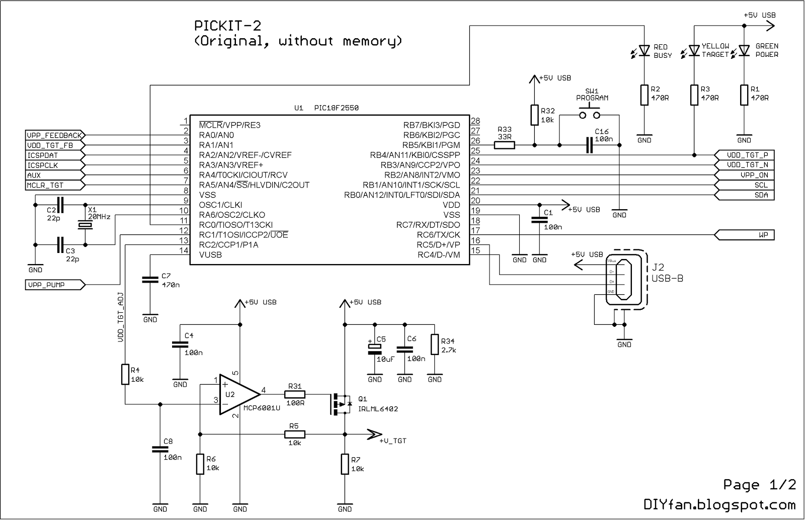 I programmed the PIC18F2550 microcontroller with my Chinese programmer.  Here is the schematic which I used: