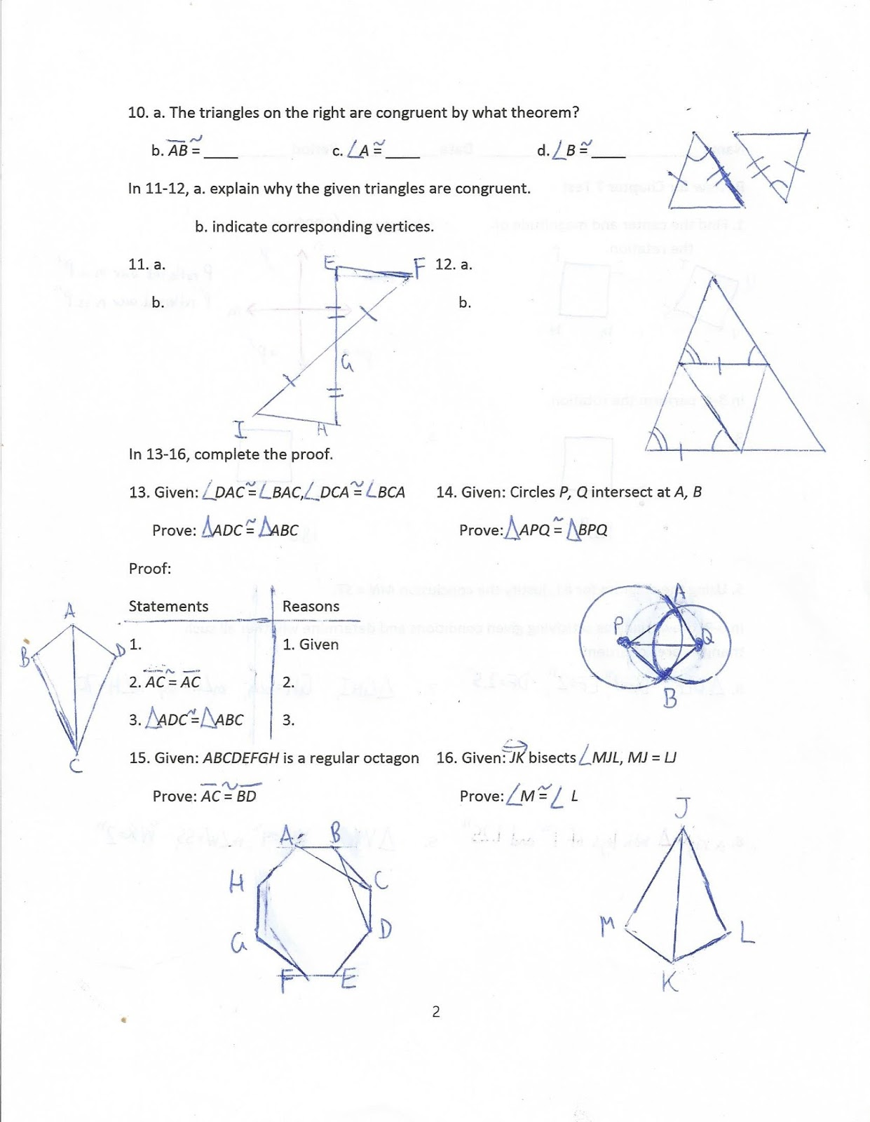 Geometry Common Core Style Review For Chapter 7 Test