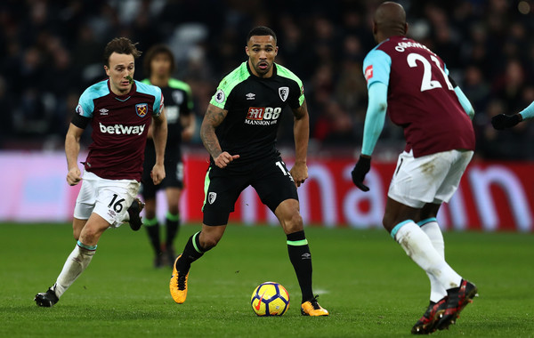 Callum Wilson of AFC Bournemouth during the Premier League match between West Ham United and AFC Bournemouth at London Stadium on January 20, 2018 in London, England. (Jan. 19, 2018 - Source: Catherine Ivill/Getty Images Europe)