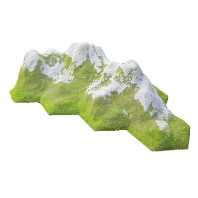 8HEX-MR/SN 8 Hex Mountain Range - SNOW CAPPED - (Height: 120mm approx)