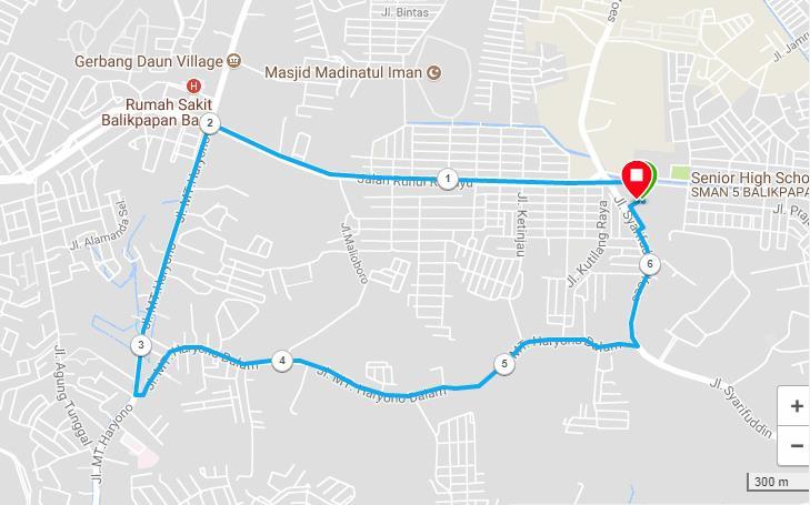 Balikpapan Night Run Route 2018