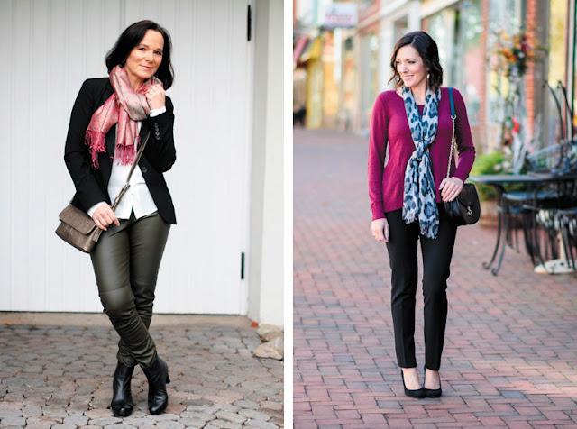 Длинные шарфы повязанные разными способами
