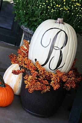 Monogrammed Pumpkin | 5 Ideas for People Who Don't Carve Pumpkins!  #halloween #pumpkins #noncarvepumpkins #paintpumpkins #diy #holiday