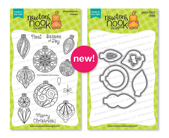 Beautiful Baubles | Ornament Stamp set by Newton's Nook Designs #newtonsnook