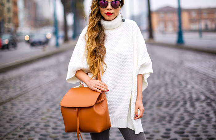 Poncho sweater, lady bag, bucket bag, grey jeans, lace up heels, aquazzura amazon pumps, baublebar earrings, quay sunglasses, san francisco street style, san francisco fashion blog