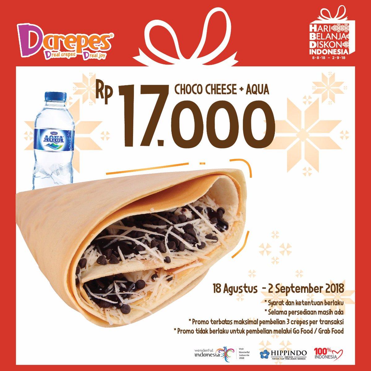 D'Crepes - Promo Kemerdekaan Choco Cheese + Aqua Cuma 17 Ribuan (s.d 2 Sept 2018)