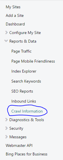 List menu bing dasboard webmaster