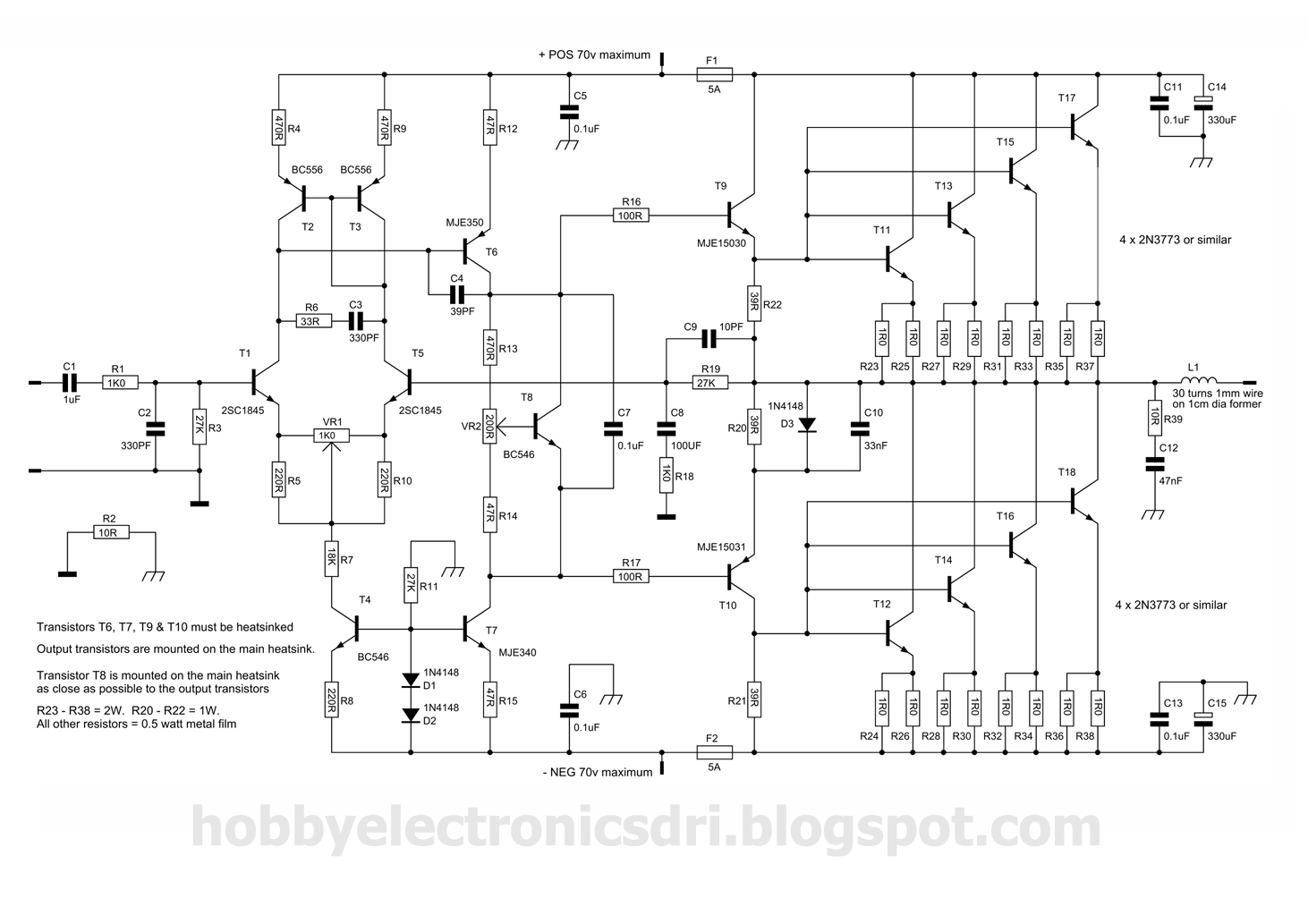 300w Power Amplifier Circuit With 2n773 Collection Schematic Currentamplifierca3140 Diagram
