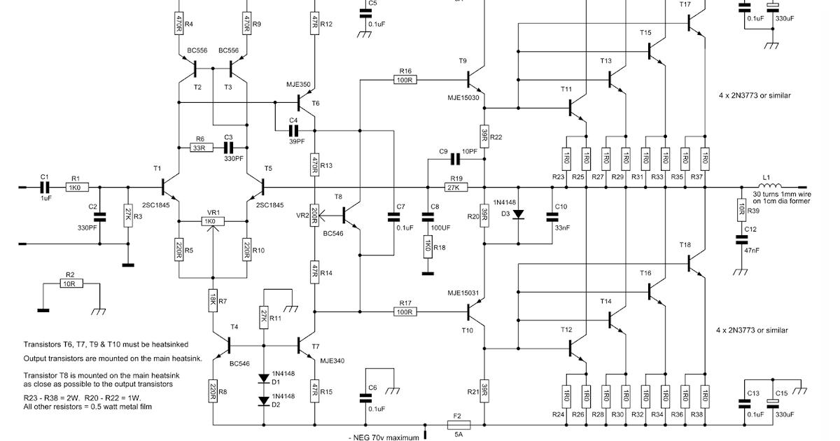 Forum Diagram: 300W Power Amplifier Circuit with 2N773