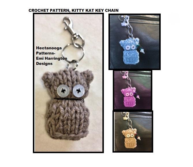 HECTANOOGA PATTERNS: FREE knitting pattern, kitty kat key ring