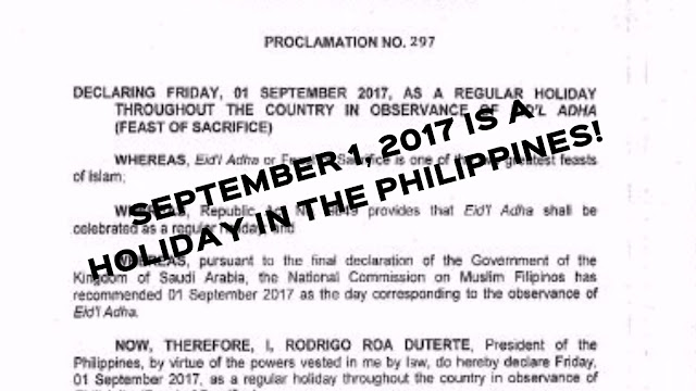 Eidul Adhan Holiday Philippines September 1 2017
