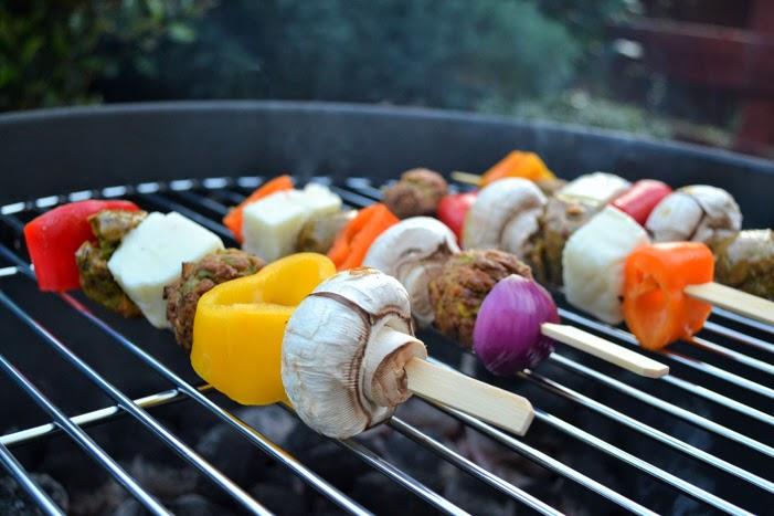 Falafel & Halloumi Kebabs on a BBQ