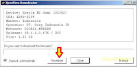 Xperia Firmware Downloader Tool dialogue box
