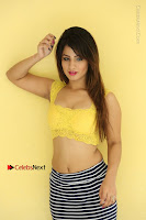 Cute Telugu Actress Shunaya Solanki High Definition Spicy Pos in Yellow Top and Skirt  0486.JPG