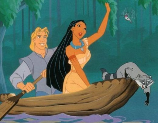 Pocahontas John Smith in a canoe Pocahontas II: Journey to a New World 1998 animatedfilmreviews.filminspector.com