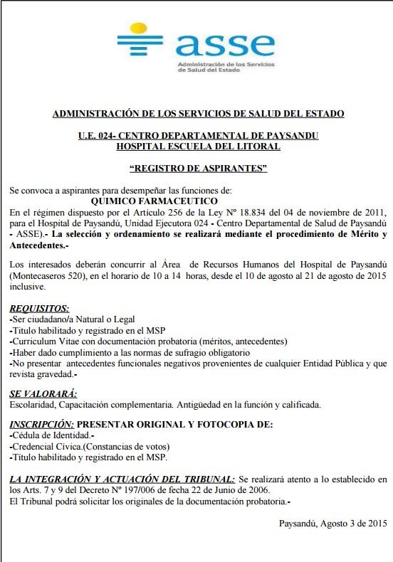 Llamado Asse Quimico Farmaceutico Para Paysandu Agosto 2015
