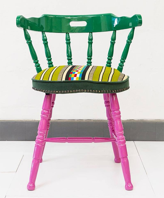 cadeira colorida, cadeira amarela, cadeira estofada, colorful furniture, Yinka Ilori, upcycling