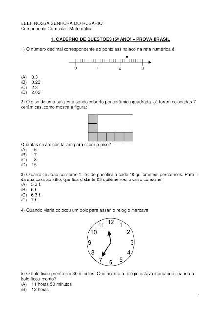 prova brasil 5º ano matematica