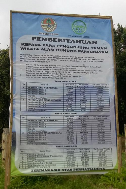 harga wisata gunung papandayan