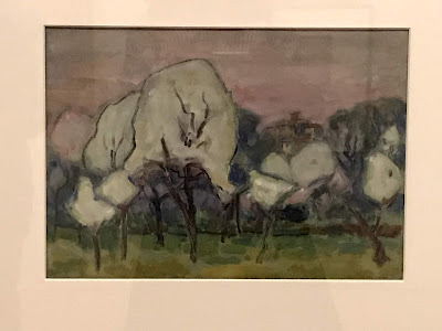 John Russell watercolour, Pear blossom in grey, 1920, AGNSW exhibition 2018