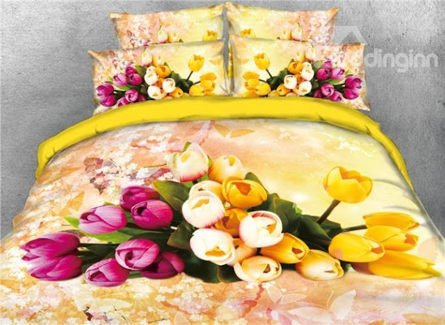 Beddinginn-Onlwe 3D Pink and Yellow Tulip Printed 4-Piece Yellow Bedding Sets