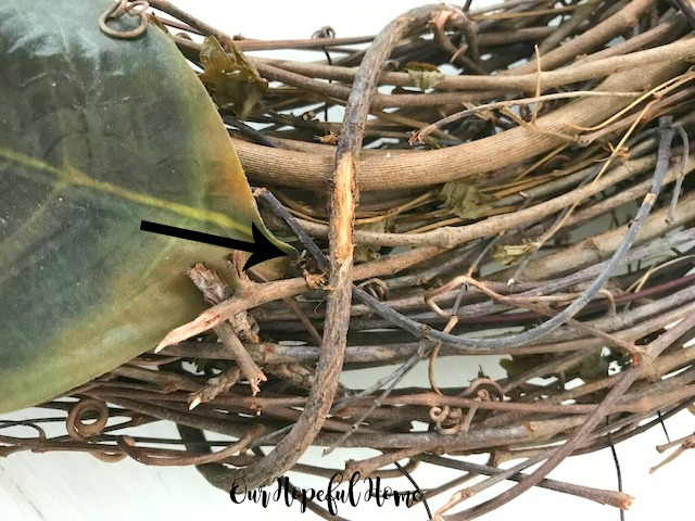 faux magnolia leaf grapevine wreath