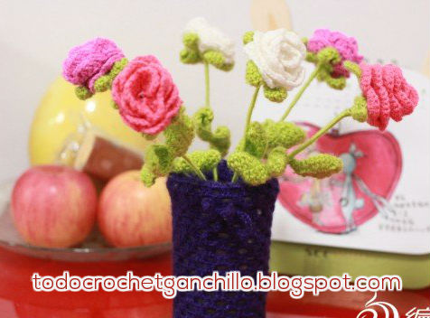 rosa tejida con ganchillo patrones