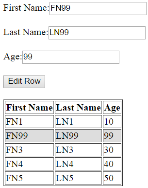update html table selected row in javascript