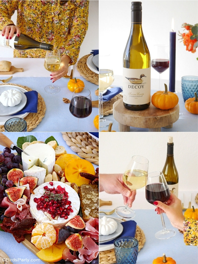 A Blue and Orange Thanksgiving Table - an elegant and modern, autumnal dinner party tablescape with charcuterie cheese board and wine pairing ideas! by BirdsParty.com @birdsparty #thanksgiving #thanksgivingtable #thanksgivingtablescape #blueorangetable #bleuorangethanksgiving #falltable #falldinnerparty #dinnerpartytable #fallpartyideas #cheesewineparty #charcuterieboard #cheeseboard #fallcharcuterieboard
