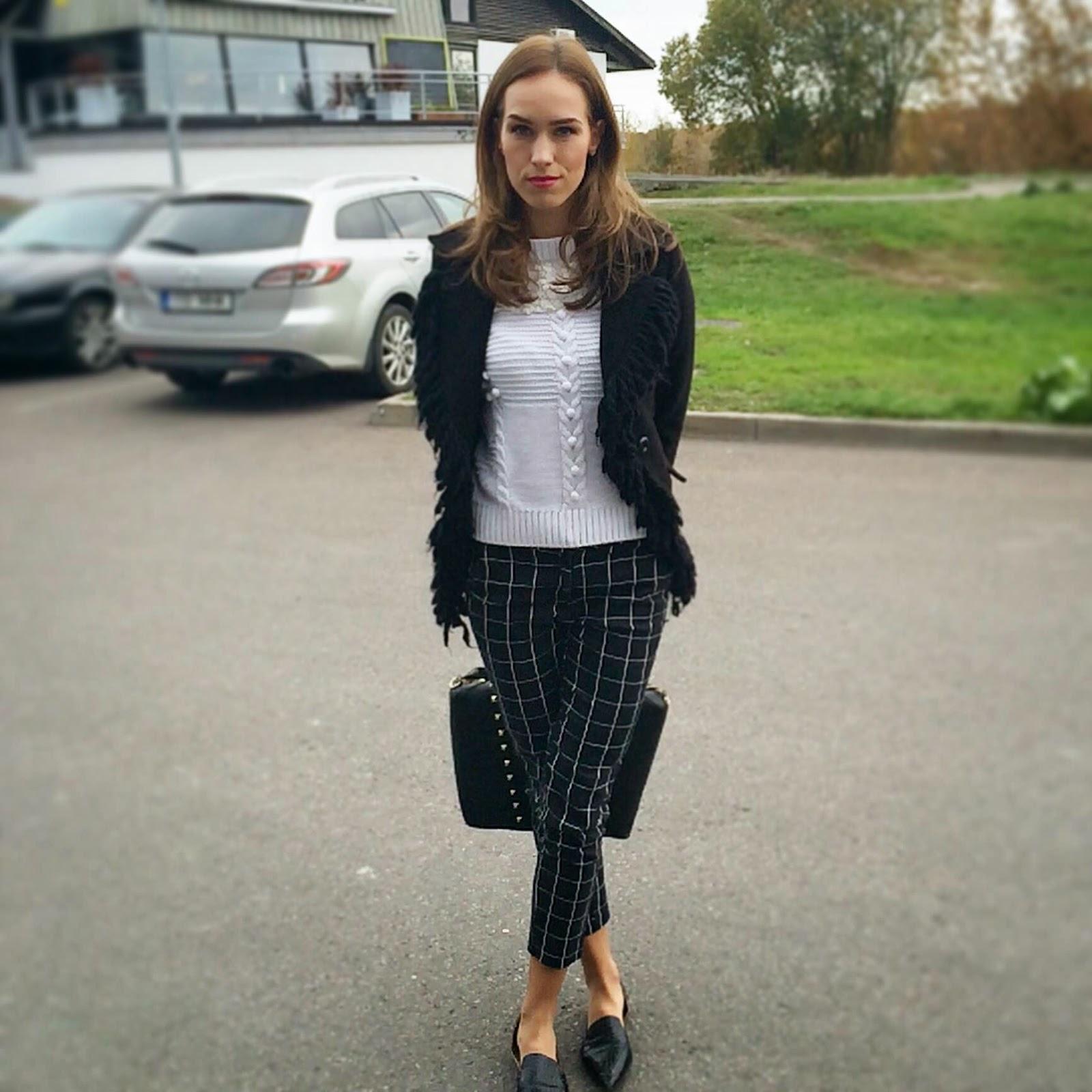 check-print-hm-suit-pants-chicwish-jumper-monton-fringe-jacket