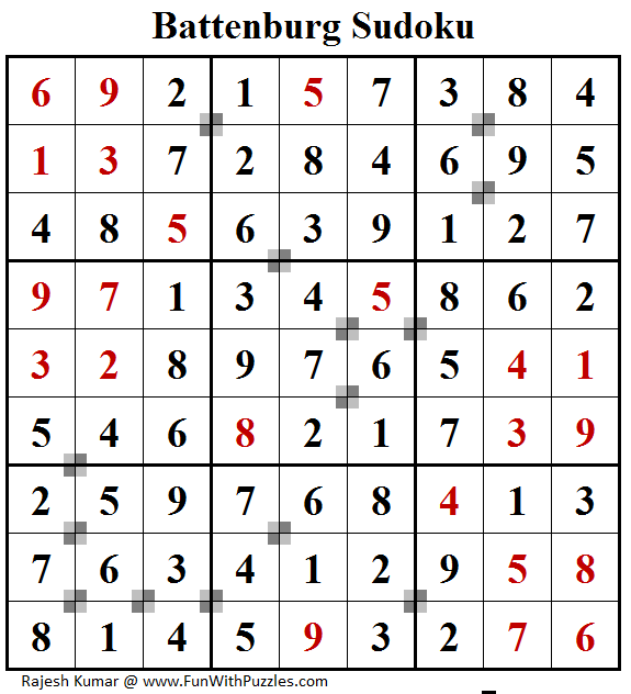 Battenburg Sudoku (Fun With Sudoku #164) Solution