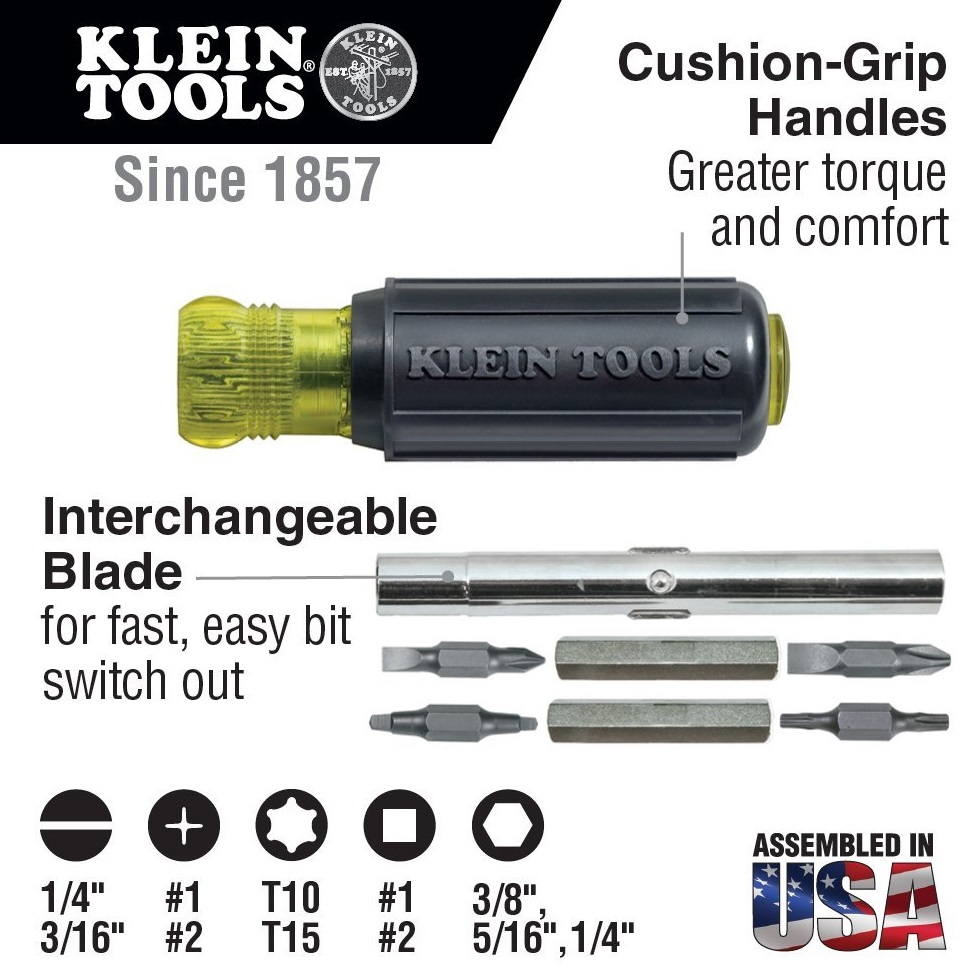 KLEIN Multibit Screw and Nut Driver