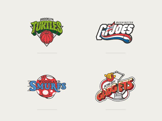 Basketball Teams x 80's Toons by Vanila Lab illustrations