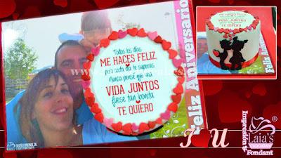 Tarta personaliza de fondant impresión comestible aniversario familia Laia's Cupcakes Puerto Sagunto