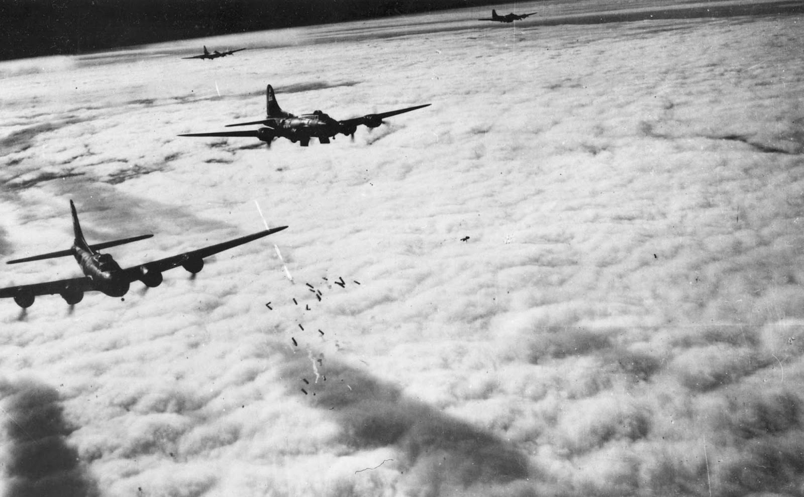 Boeing B-17F radar bombing through clouds: Bremen, Germany, November 13, 1943.