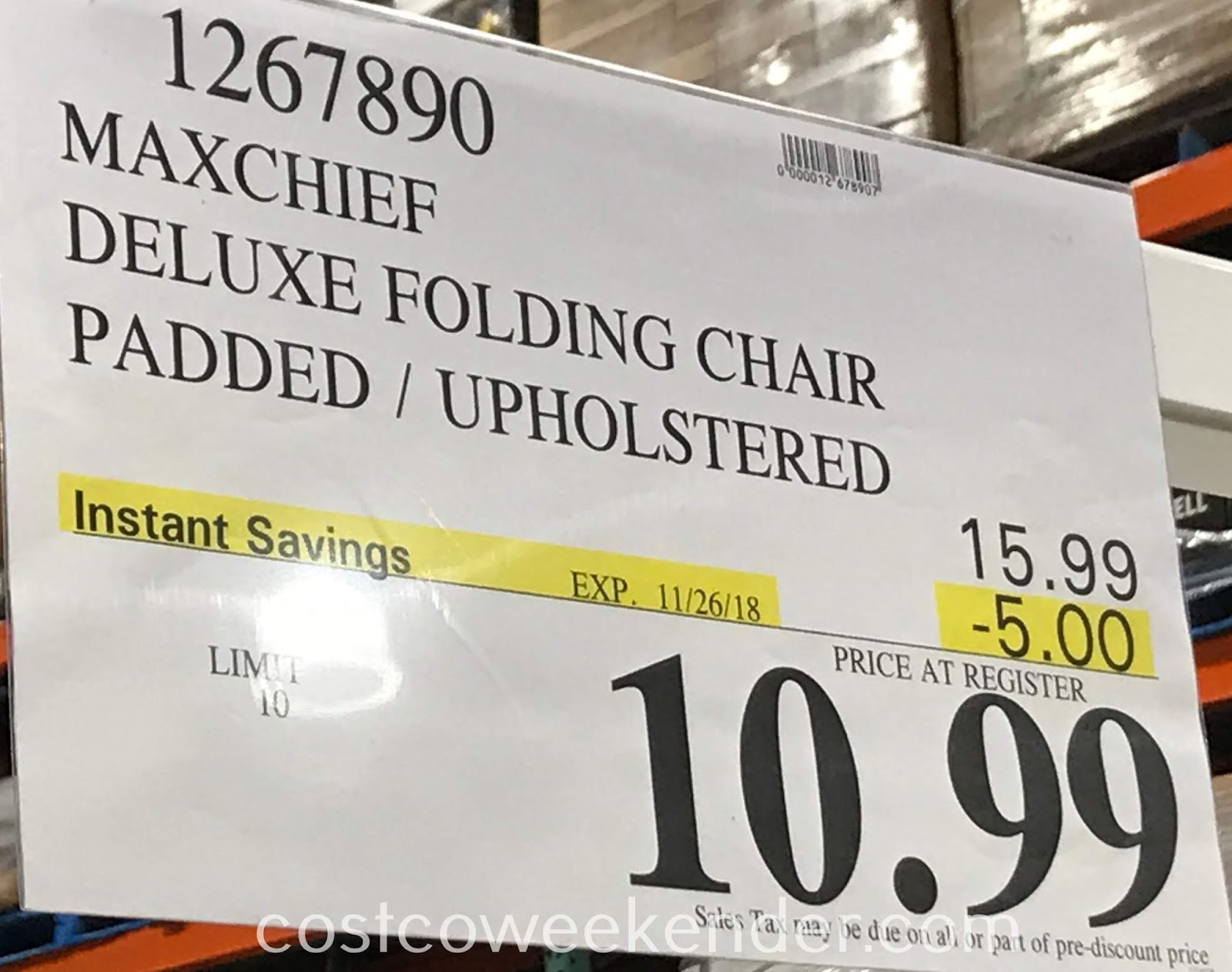 Deal for the Maxchief Upholstered Metal Folding Chair at Costco