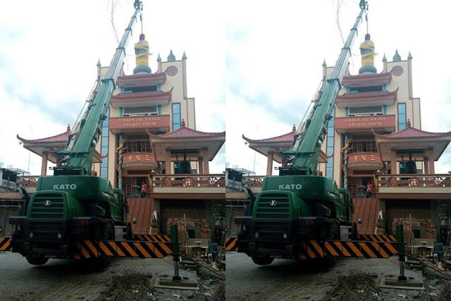 Patung Buddha di vihara Tri Ratna Kota Tanjungbala ini diturunkan, reaksi umat Buddha bikin adem.