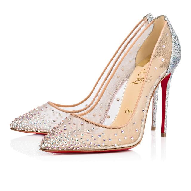 Sapato debutante cinderella, Loubotin prata, salto médio