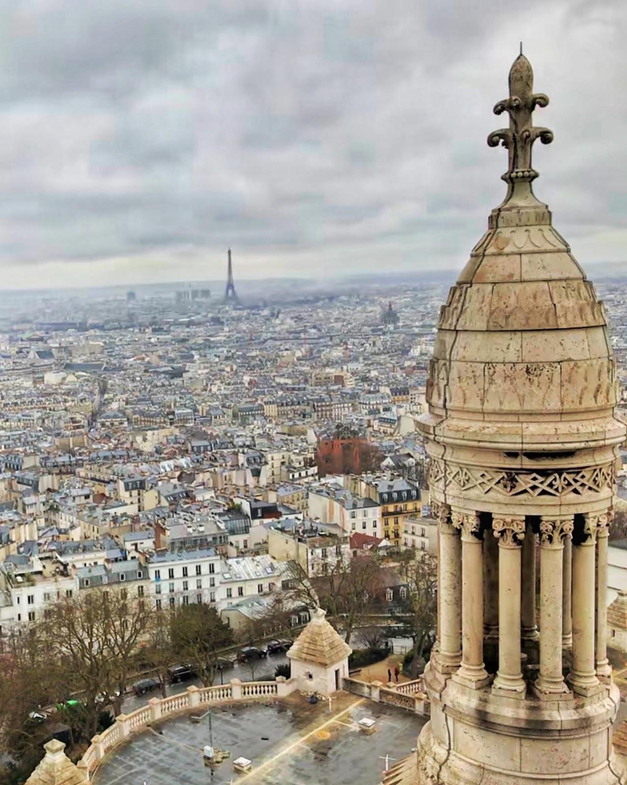 Sacré-Cœur, views, Paris views, Paris in winter, rainy day in Paris, Cloudy day in Paris, view of the eiffel tower, view of paris