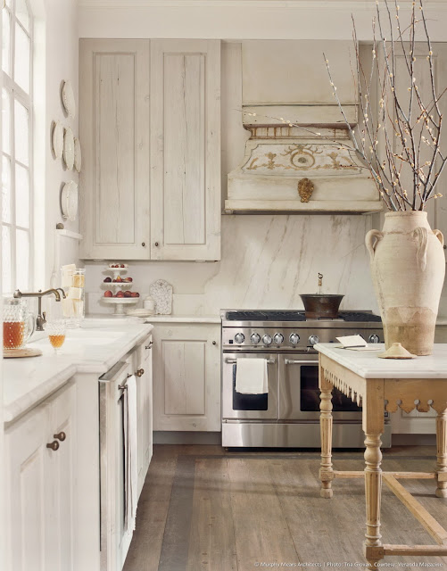 French country kitchen with French work table in elegant room by Eleanor Cummings