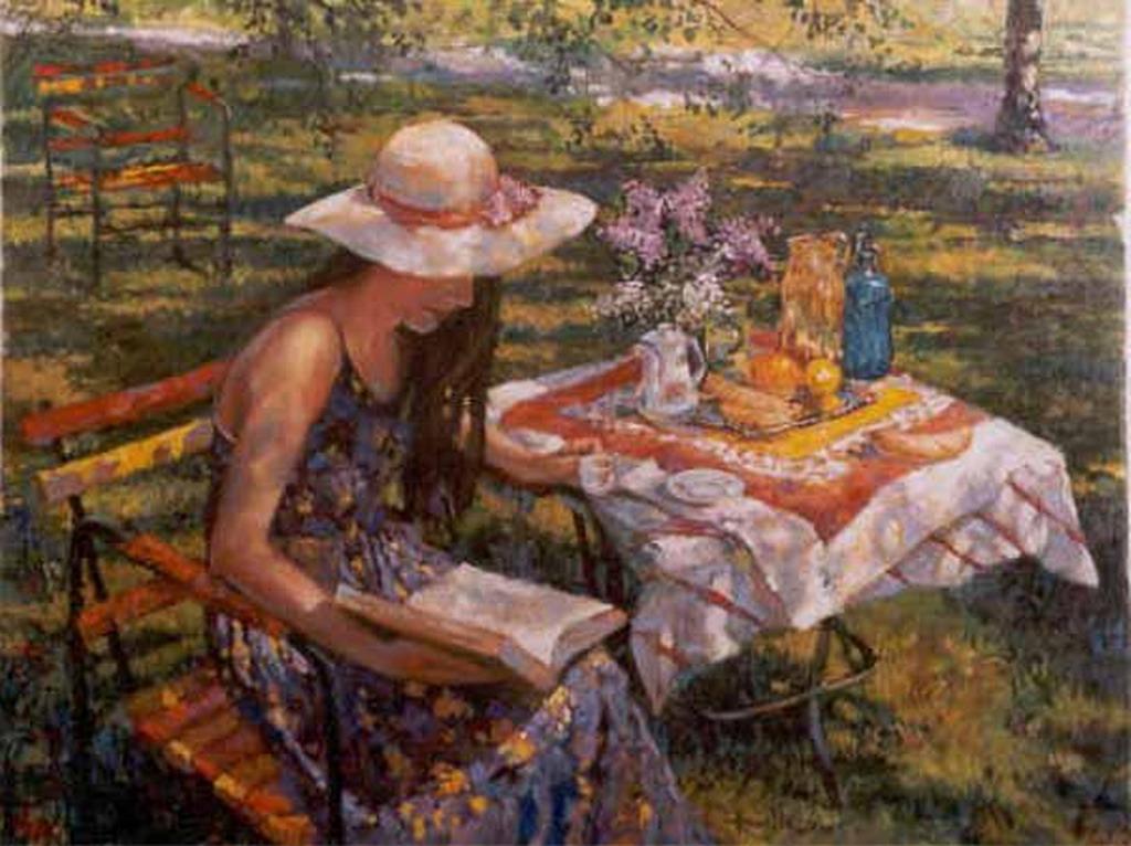 Cuadros pinturas oleos mujeres en jardines y el mar for Cuadros para el jardin