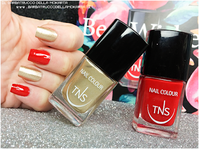 best wishes TNS cosmetics nails  red gold Christmas