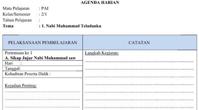 Agenda Harian PAI Kelas 1 2 3 4 5 6 SD/MI Kurikulim 2013