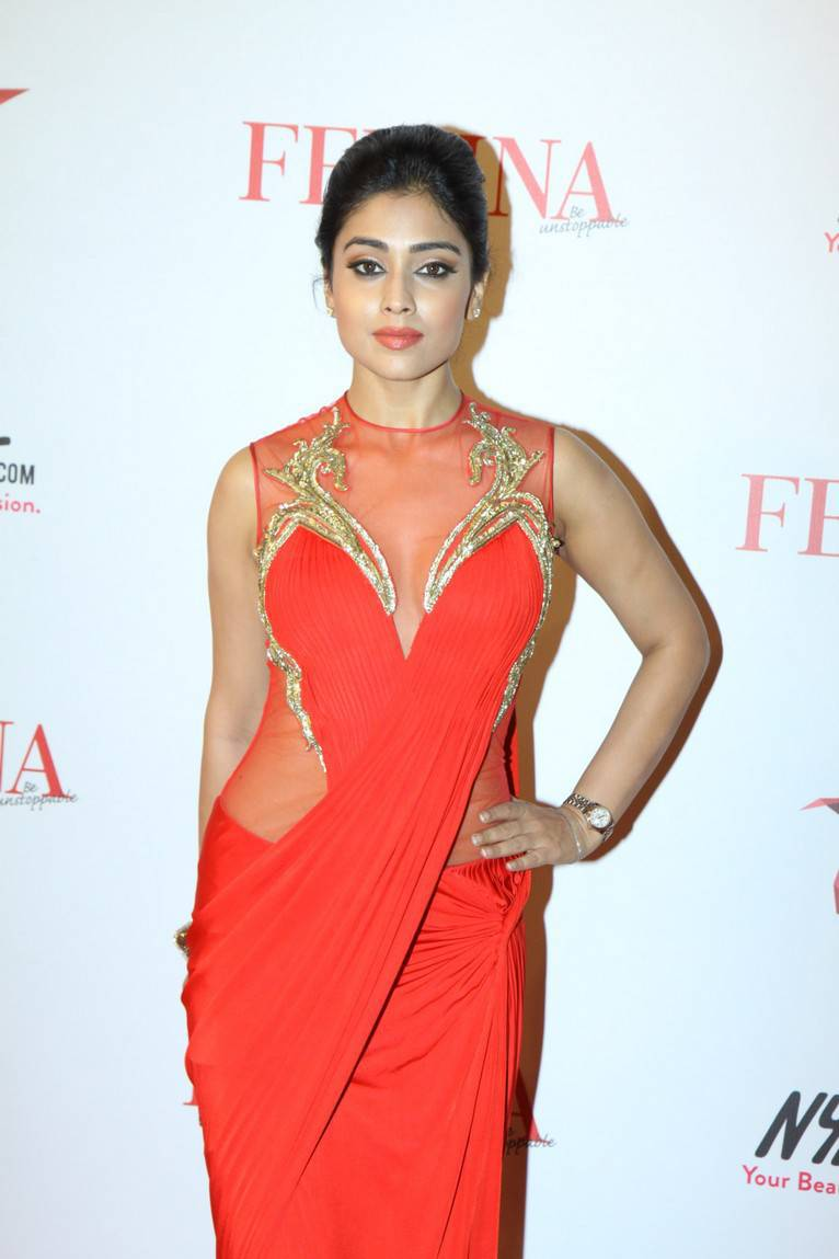 Telugu Actress Shriya Saran In Transparent Orange Saree At Femina Beauty Awards